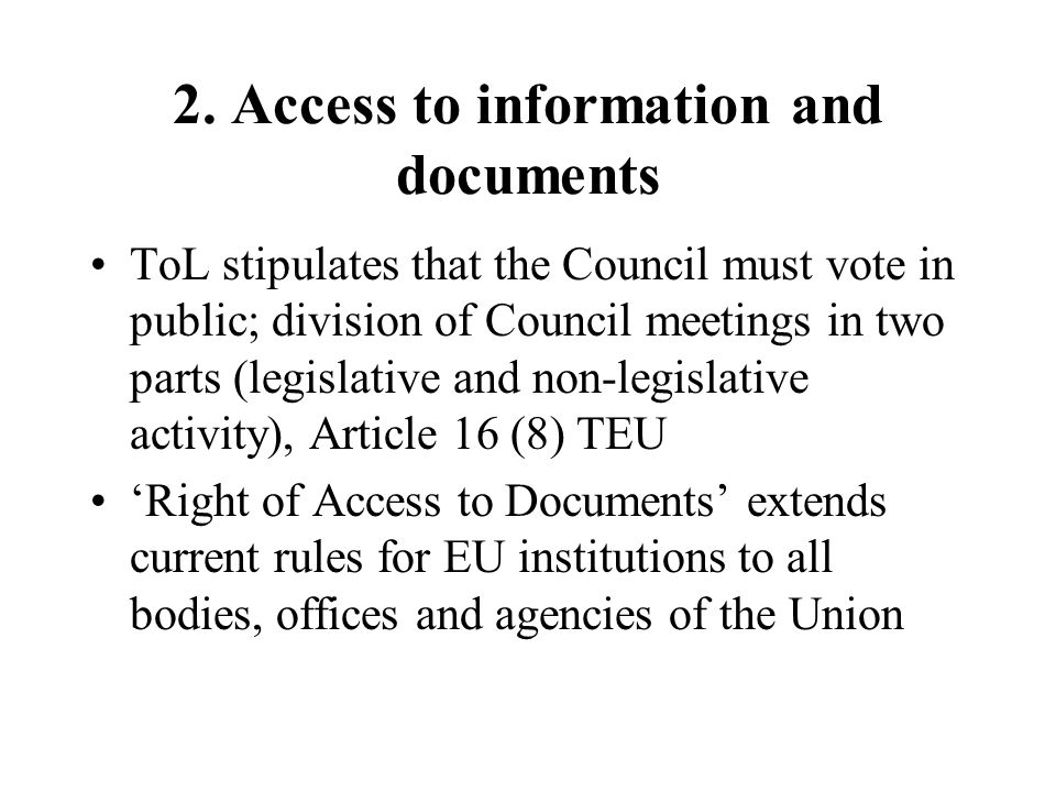 2. Access to information and documents