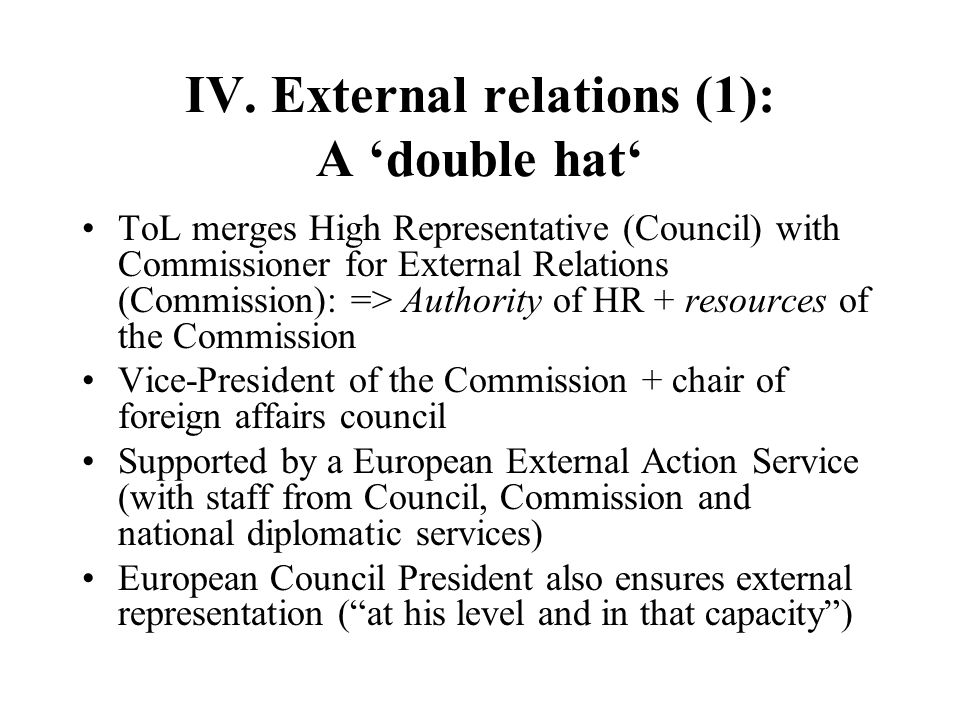IV. External relations (1): A 'double hat'