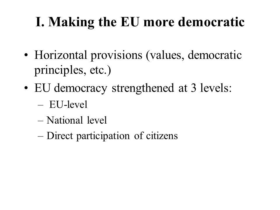 I. Making the EU more democratic