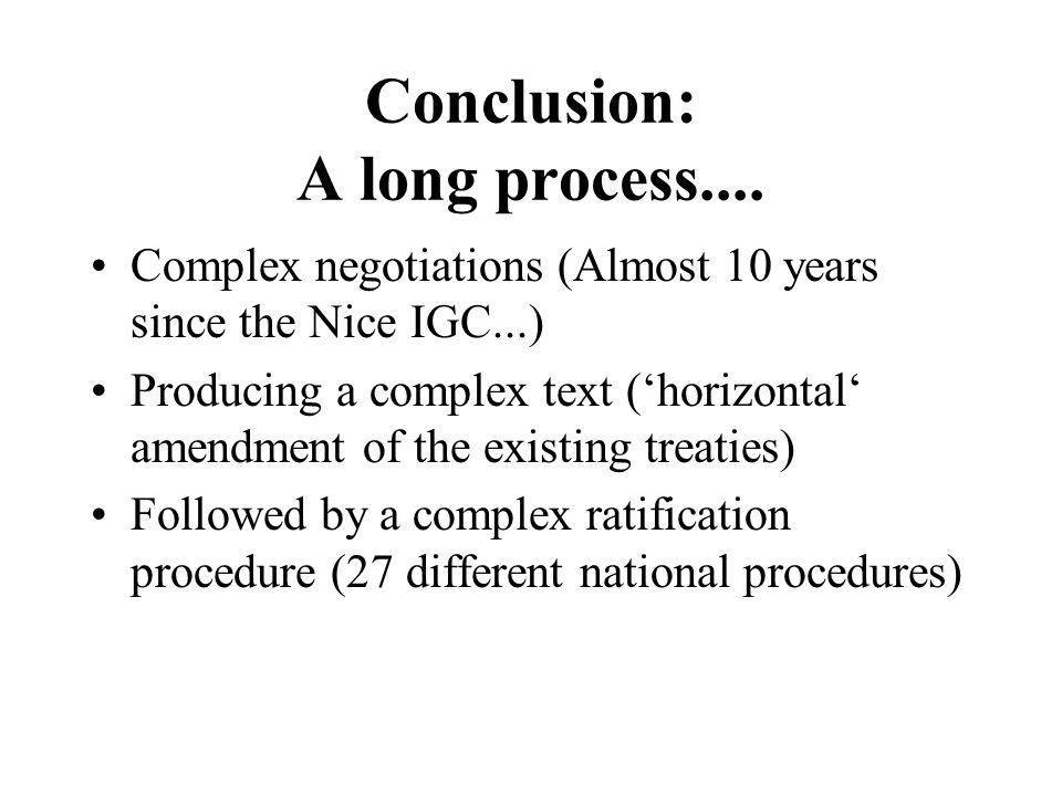 Conclusion: A long process....