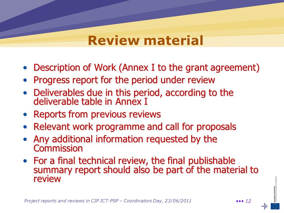 Review material Description of Work (Annex I to the grant agreement)