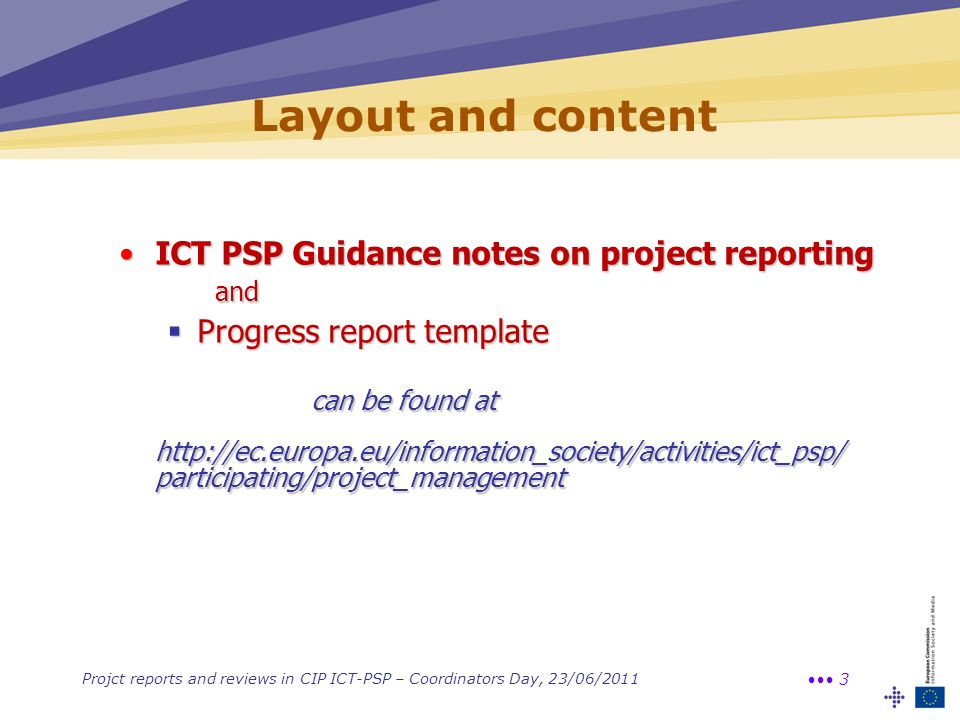 Layout and content ICT PSP Guidance notes on project reporting