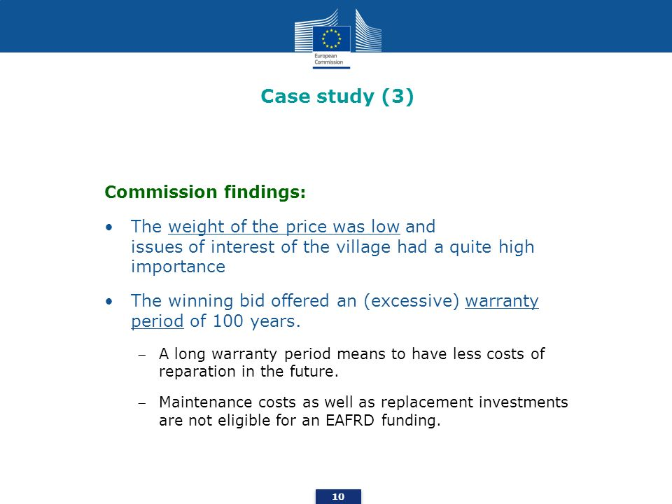 Case study (3) Commission findings: