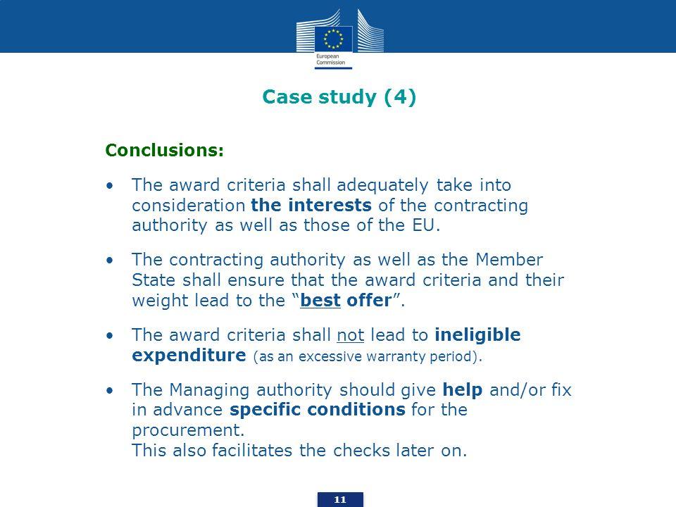 Case study (4) Conclusions: