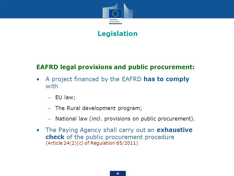 Legislation EAFRD legal provisions and public procurement: