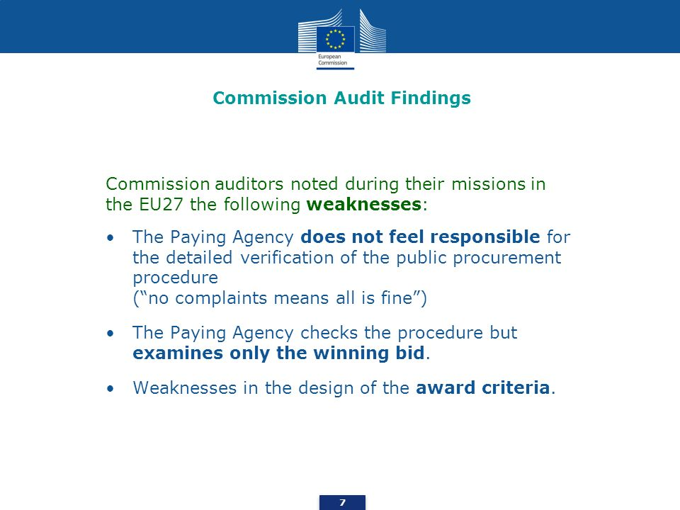 Commission Audit Findings