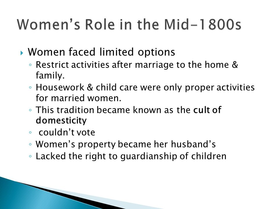 Women's Role in the Mid-1800s