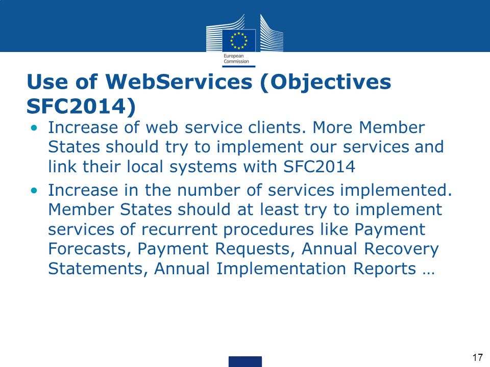 Use of WebServices (Objectives SFC2014)