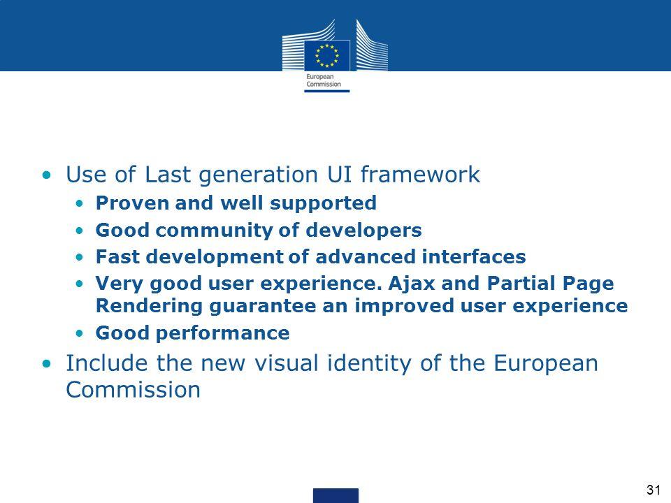 Use of Last generation UI framework