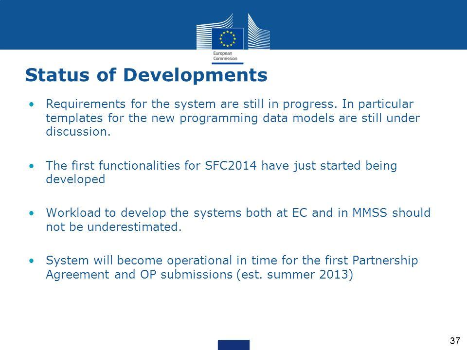 Status of Developments