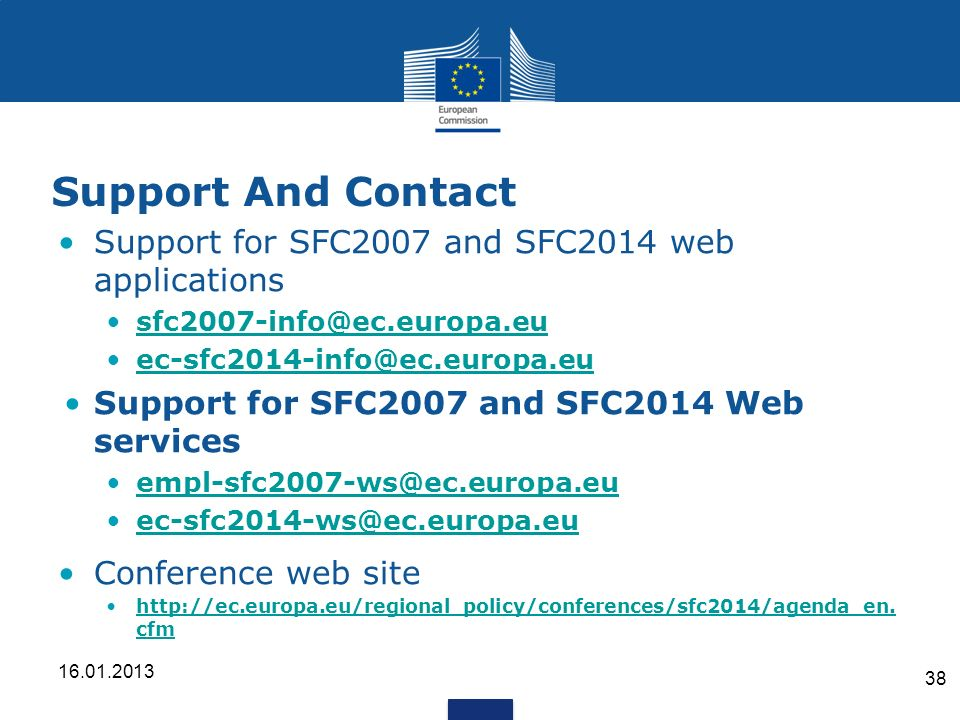 Support And Contact Support for SFC2007 and SFC2014 web applications