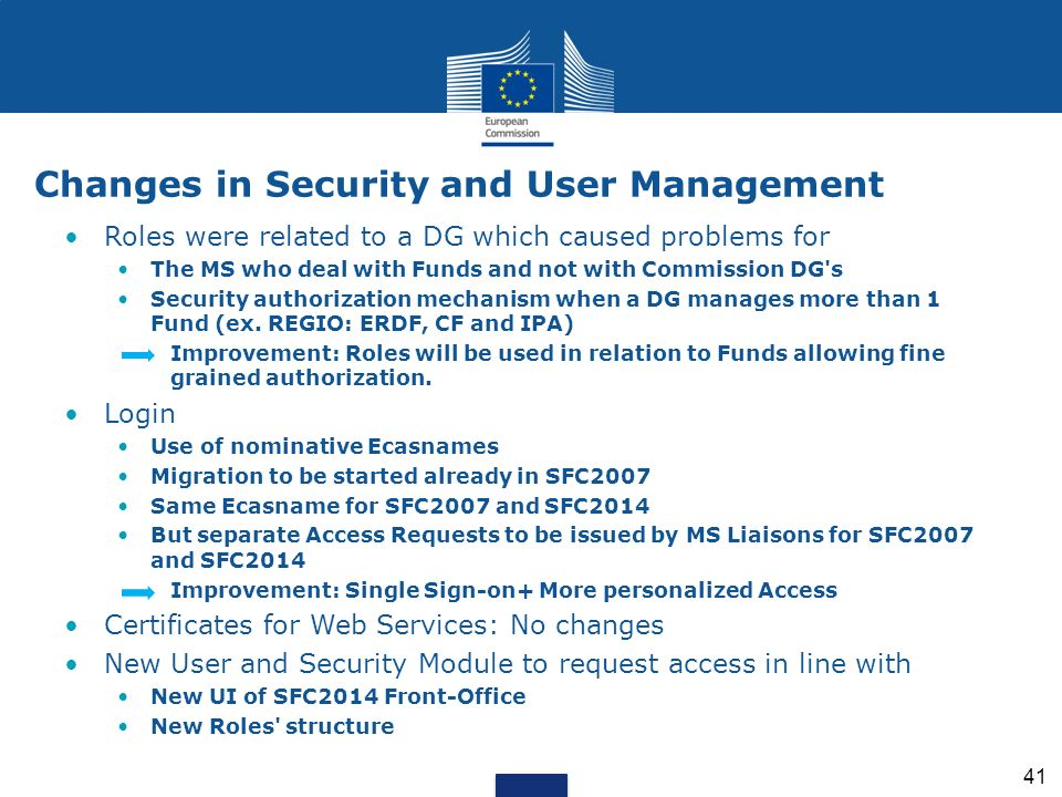 Changes in Security and User Management