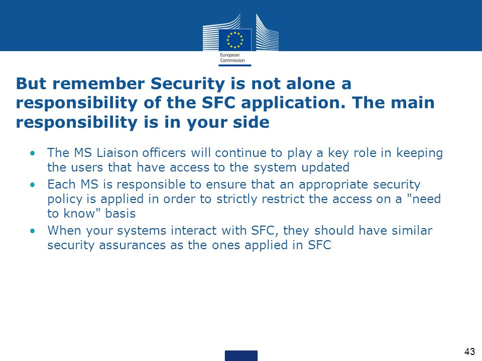 But remember Security is not alone a responsibility of the SFC application. The main responsibility is in your side