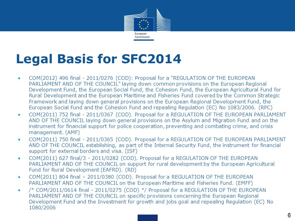 Legal Basis for SFC2014