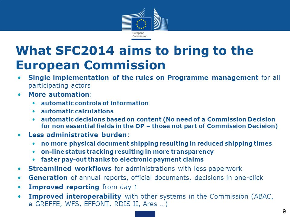 What SFC2014 aims to bring to the European Commission