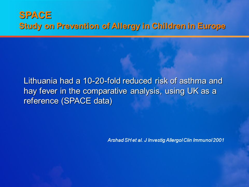 SPACE Study on Prevention of Allergy in Children in Europe