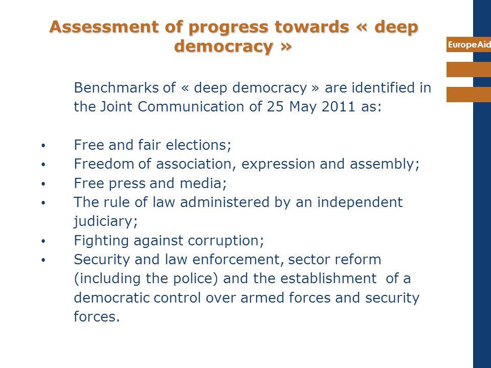 Assessment of progress towards « deep democracy »
