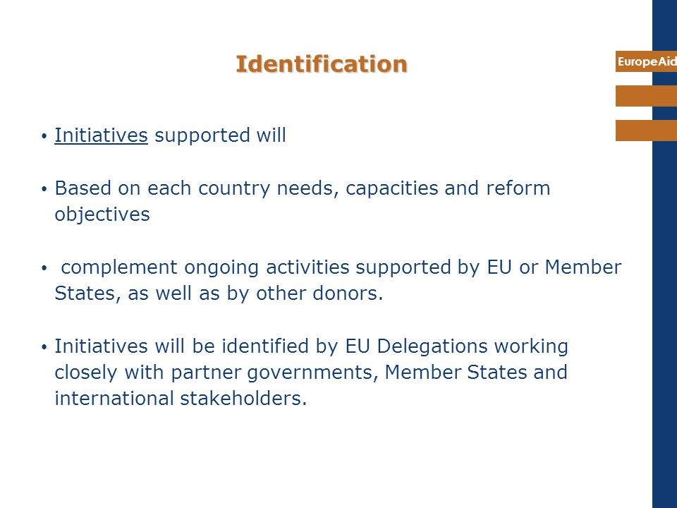 Identification Initiatives supported will