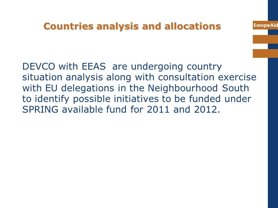 Countries analysis and allocations
