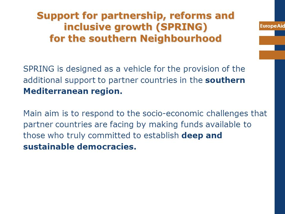 Support for partnership, reforms and inclusive growth (SPRING) for the southern Neighbourhood