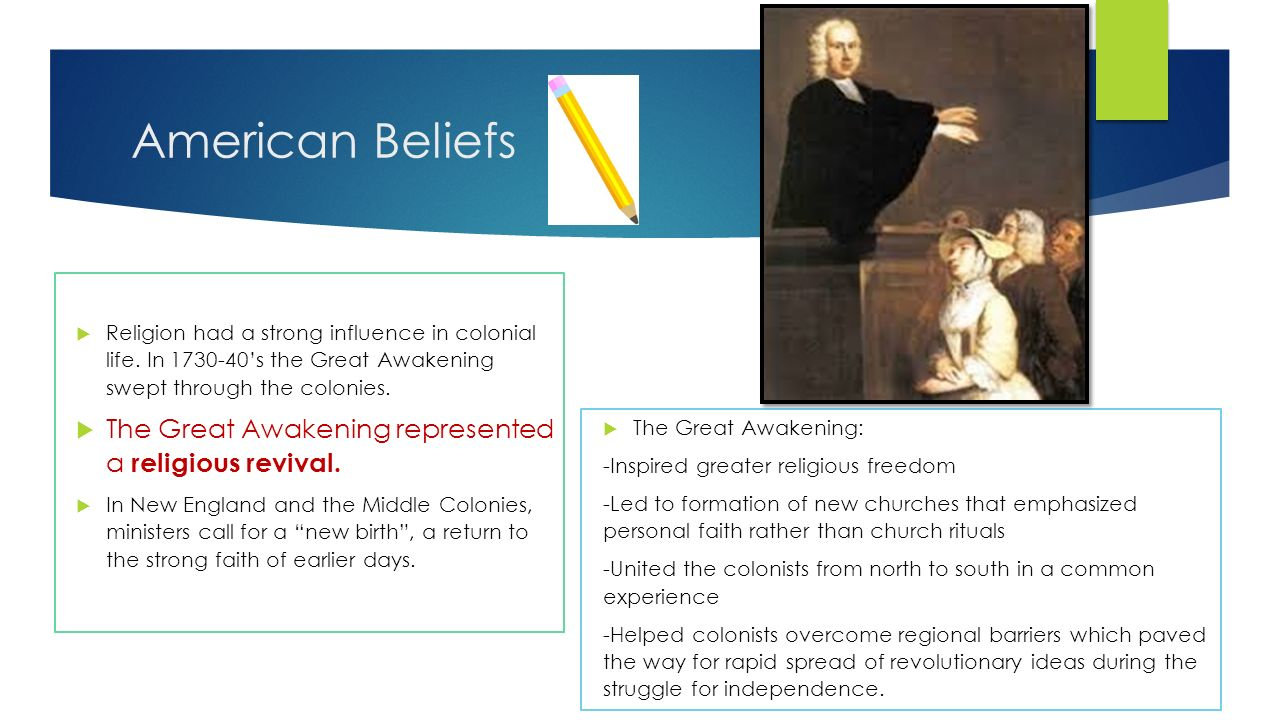 great awakening influence american society The great awakening of 1720-1745 was a period of intense religious revivalism that spread throughout the american colonies the movement deemphasized the higher authority of church doctrine and instead put a greater importance on the individual and his or her spiritual experience.