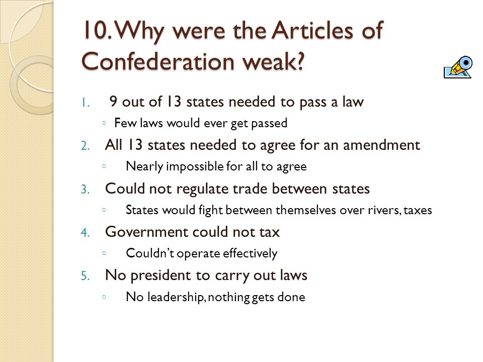 were typically the content articles of confederation effective