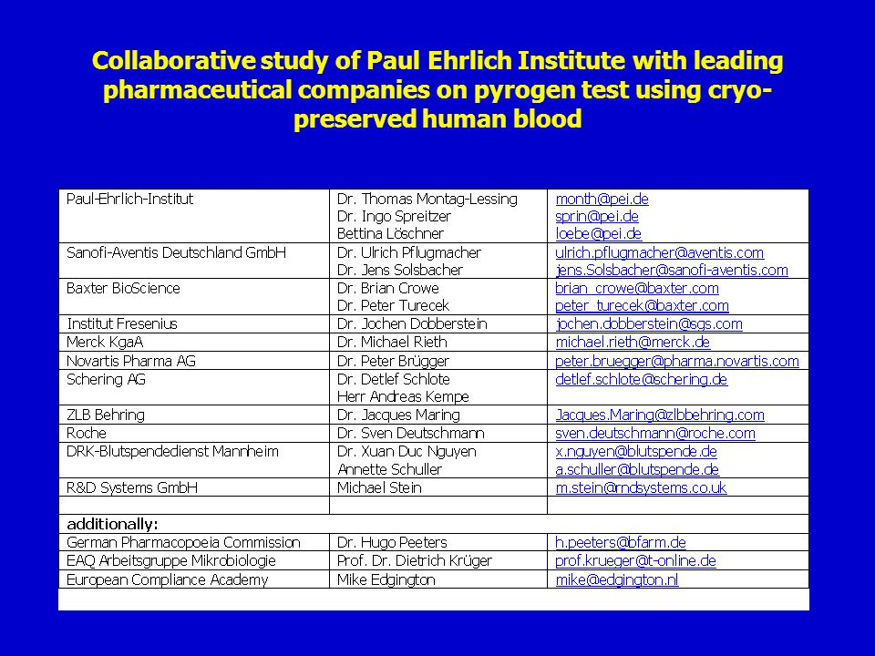 Collaborative study of Paul Ehrlich Institute with leading pharmaceutical companies on pyrogen test using cryo-preserved human blood