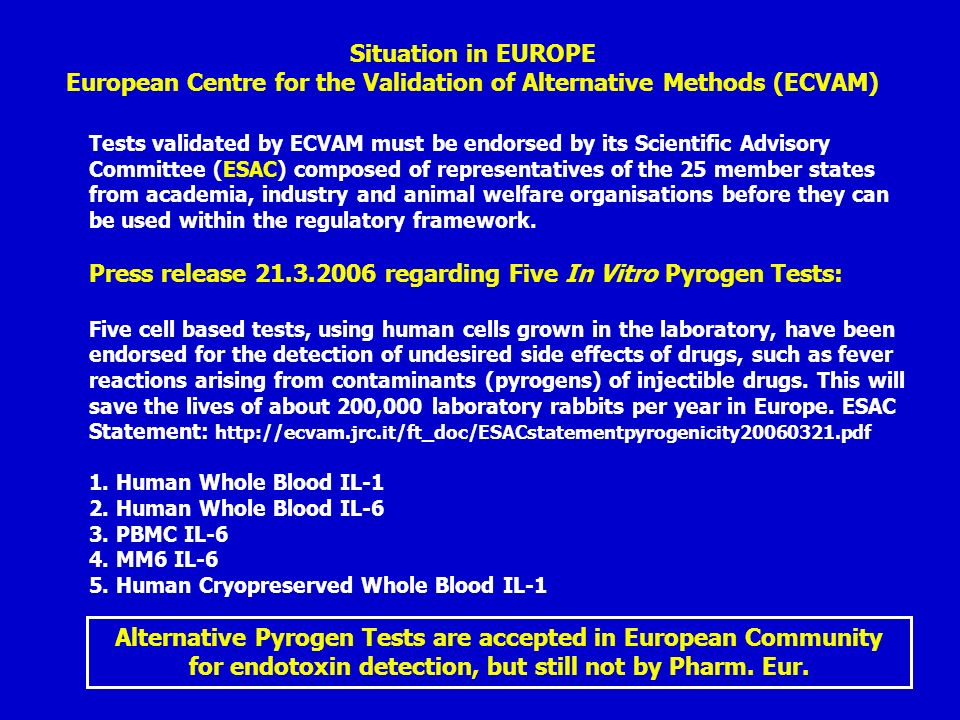 European Centre for the Validation of Alternative Methods (ECVAM)