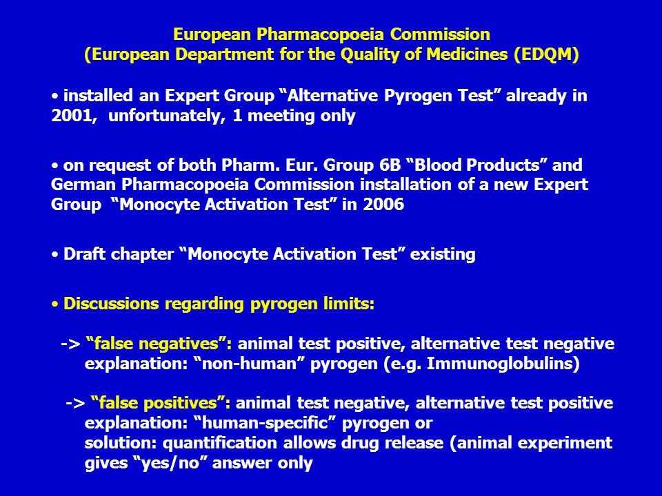 European Pharmacopoeia Commission (European Department for the Quality of Medicines (EDQM)