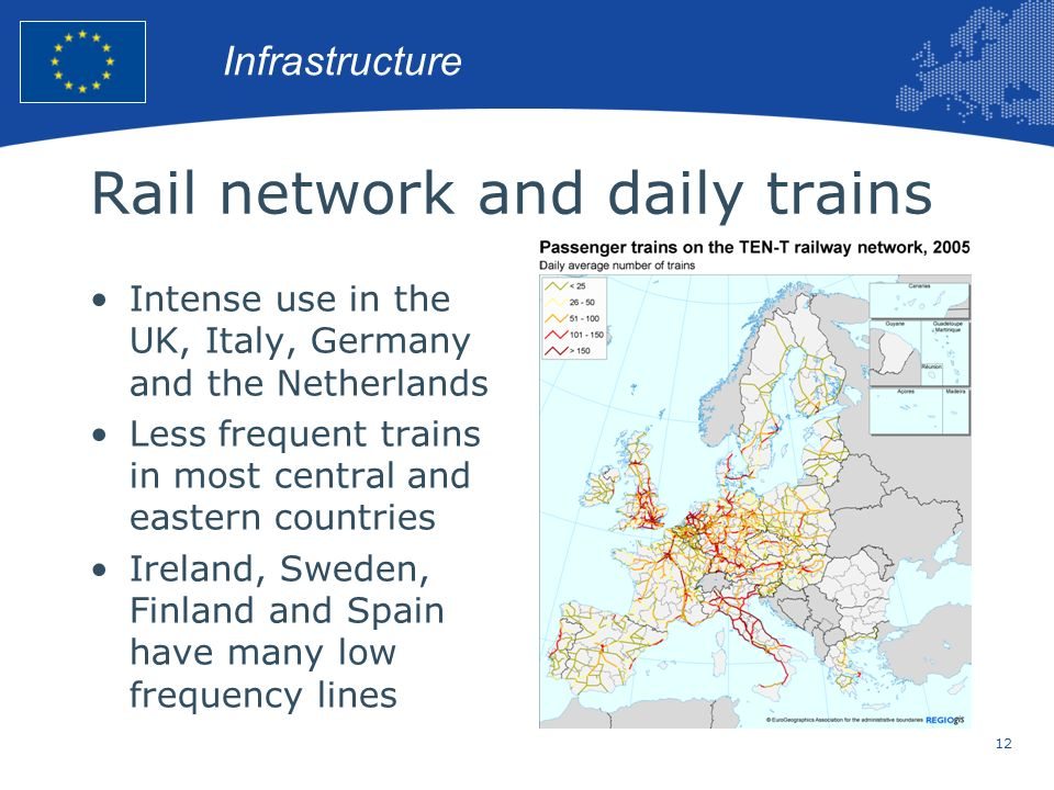 Rail network and daily trains