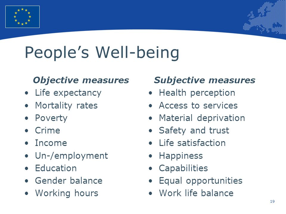 People's Well-being Objective measures Life expectancy Mortality rates