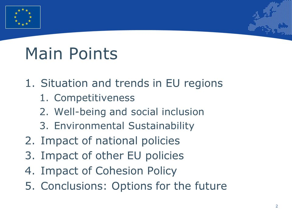 Main Points Situation and trends in EU regions