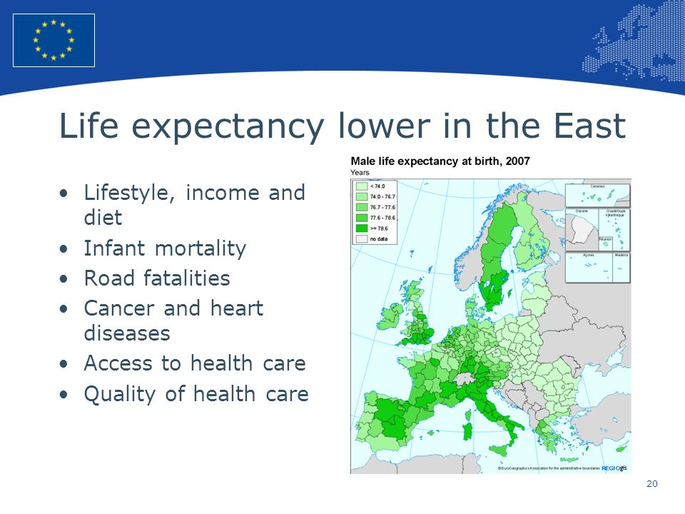 Life expectancy lower in the East