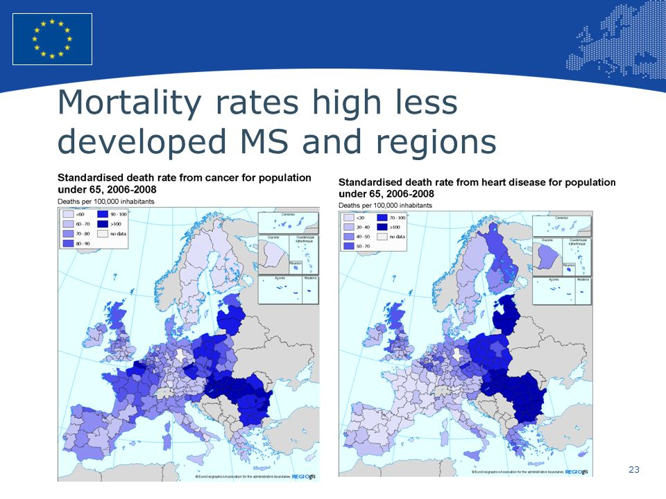 Mortality rates high less developed MS and regions