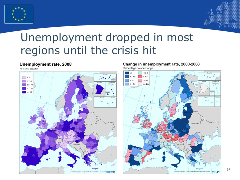 Unemployment dropped in most regions until the crisis hit