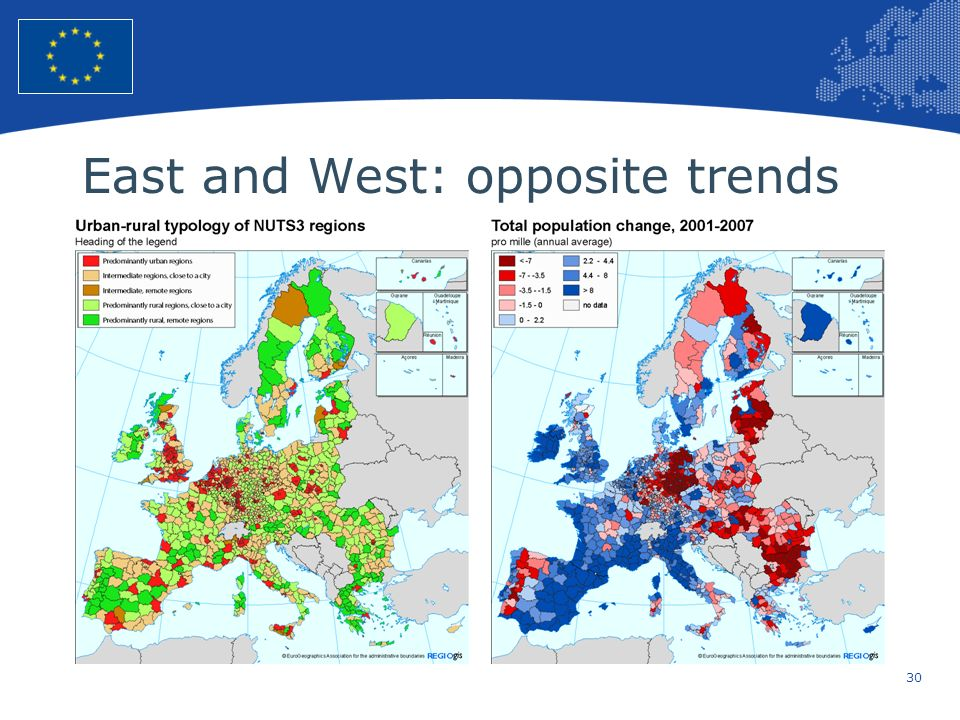 East and West: opposite trends
