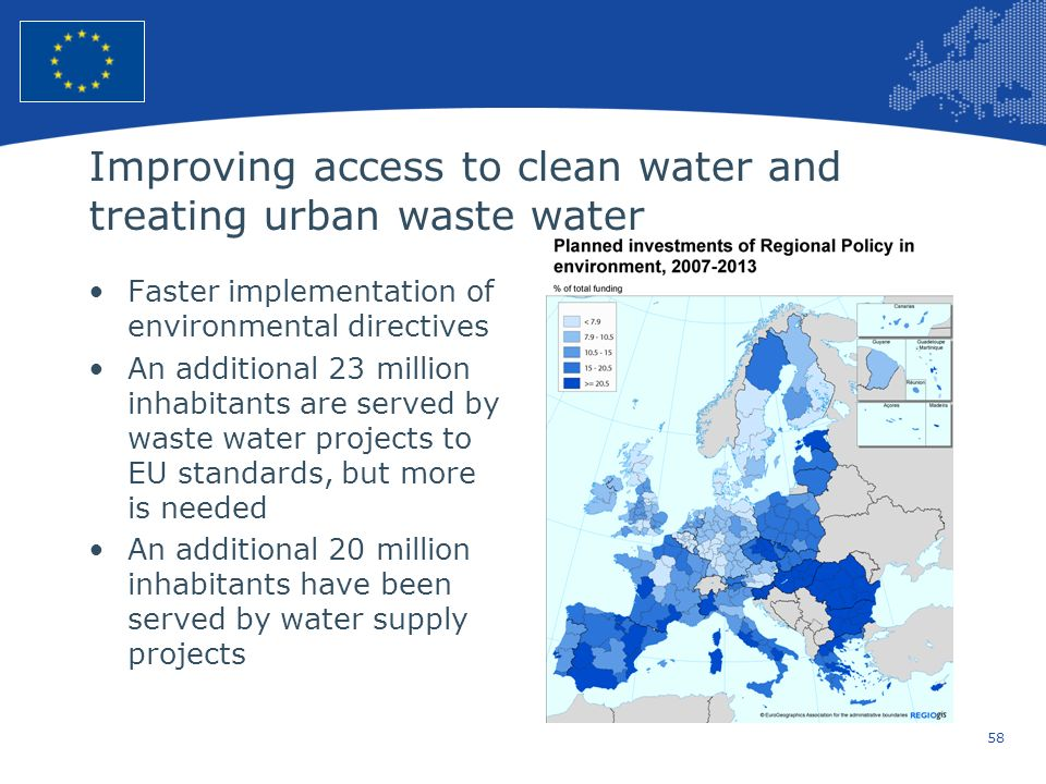 Improving access to clean water and treating urban waste water