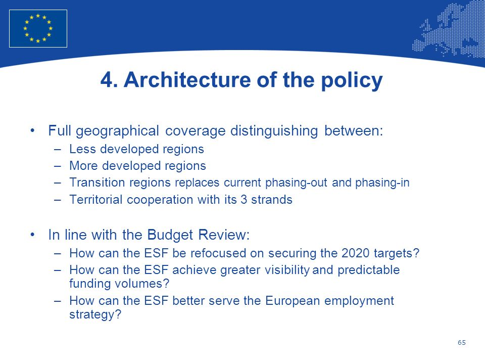 4. Architecture of the policy