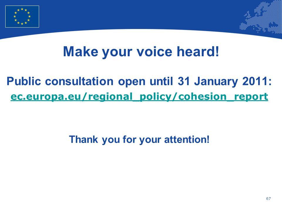 Make your voice heard! Public consultation open until 31 January 2011: