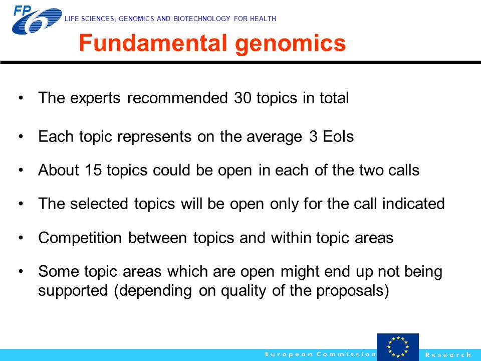Fundamental genomics The experts recommended 30 topics in total