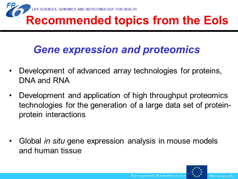 Recommended topics from the EoIs Gene expression and proteomics