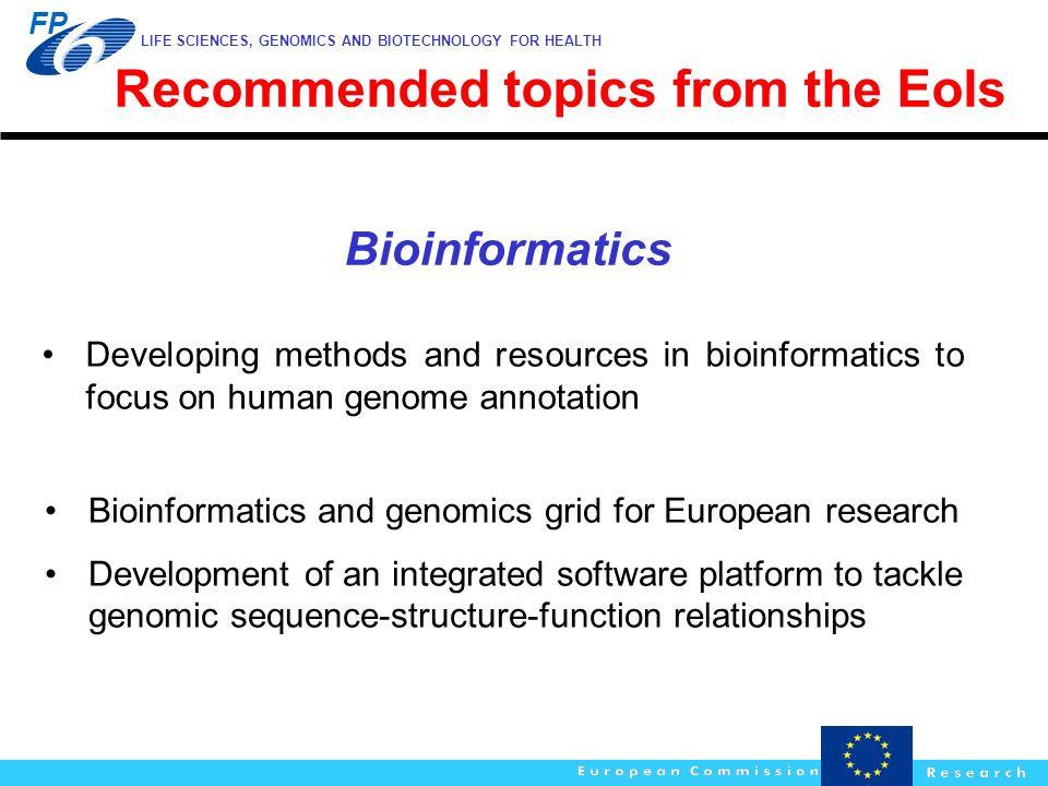 Recommended topics from the EoIs
