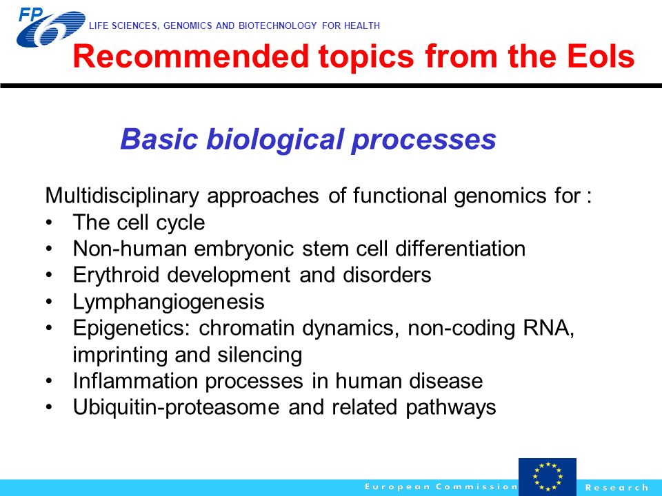 Recommended topics from the EoIs Basic biological processes