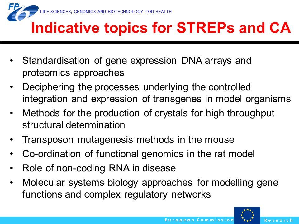 Indicative topics for STREPs and CA