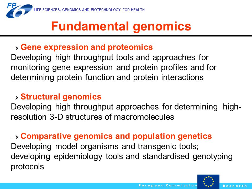 Fundamental genomics  Gene expression and proteomics.