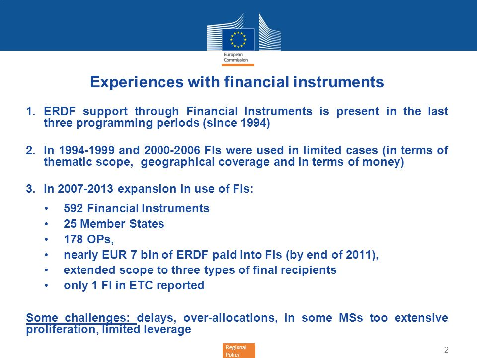Experiences with financial instruments
