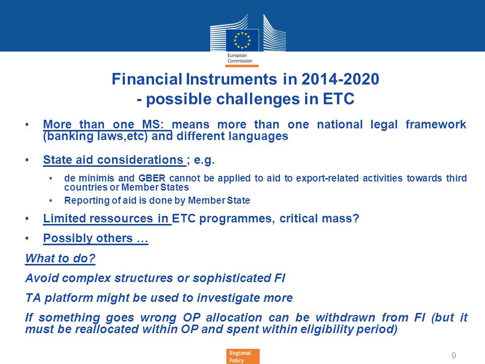Financial Instruments in 2014-2020 - possible challenges in ETC