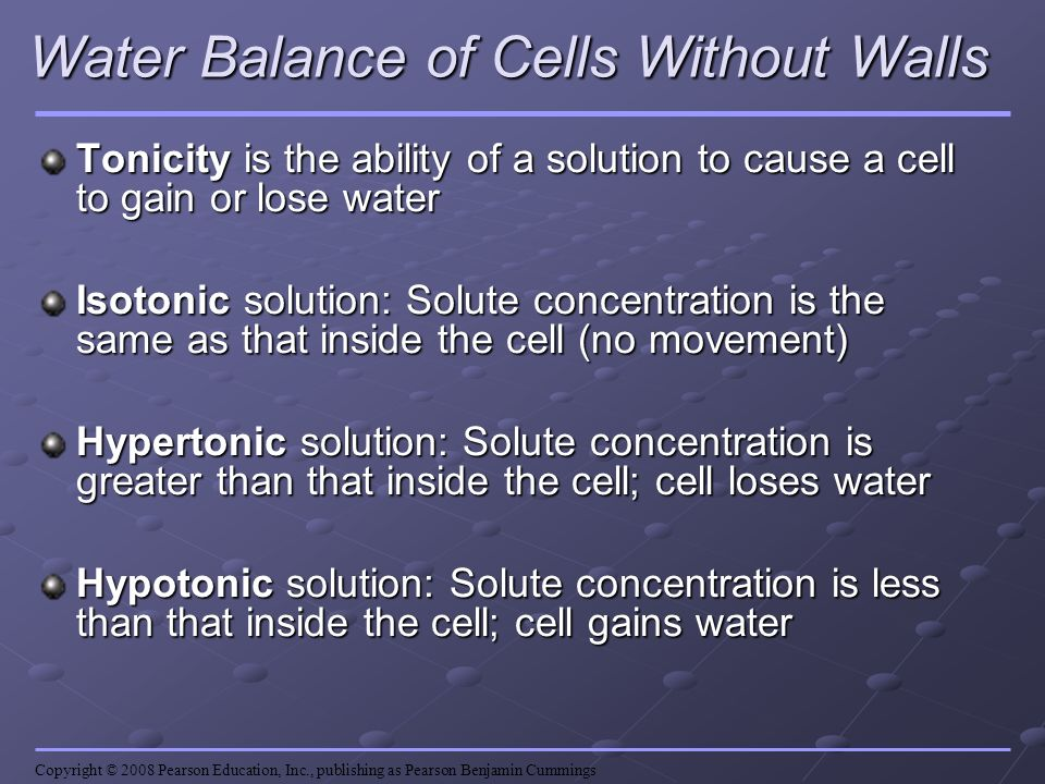 Water Balance of Cells Without Walls
