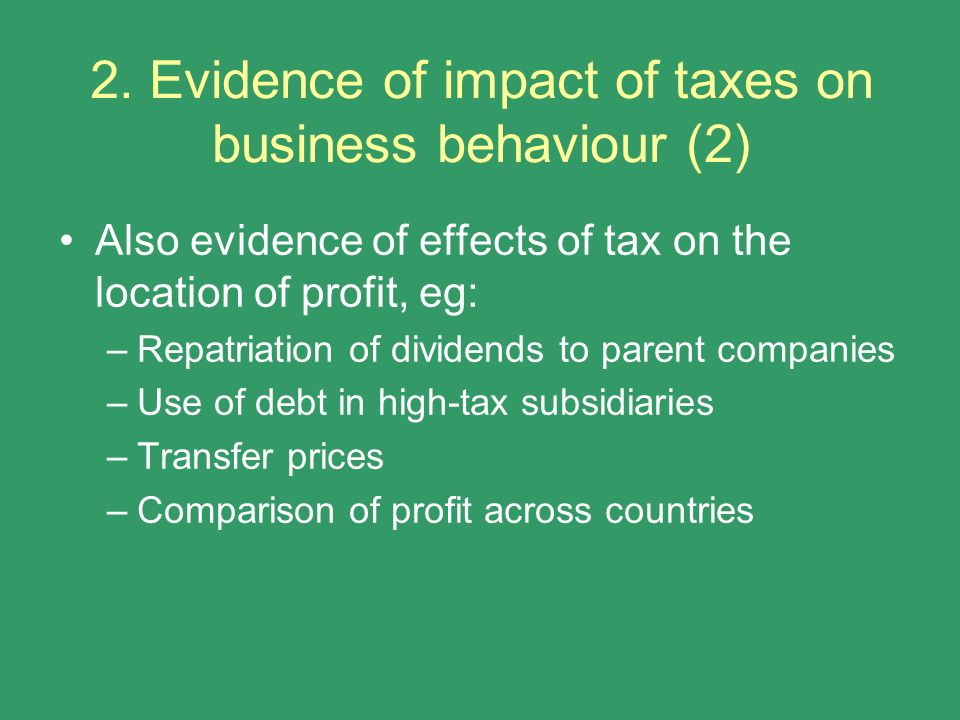 2. Evidence of impact of taxes on business behaviour (2)