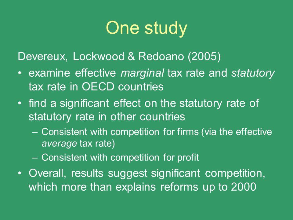 One study Devereux, Lockwood & Redoano (2005)